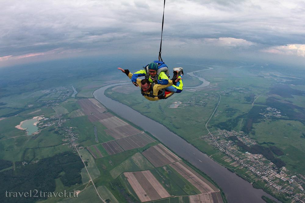 прыжок с парашютом в тандеме с высоты 4000 м., Коломна, Россия