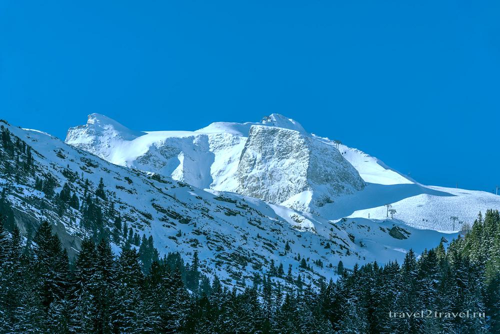 вид на Hintertuxer Gletscher с нижней станции на 1500 м.