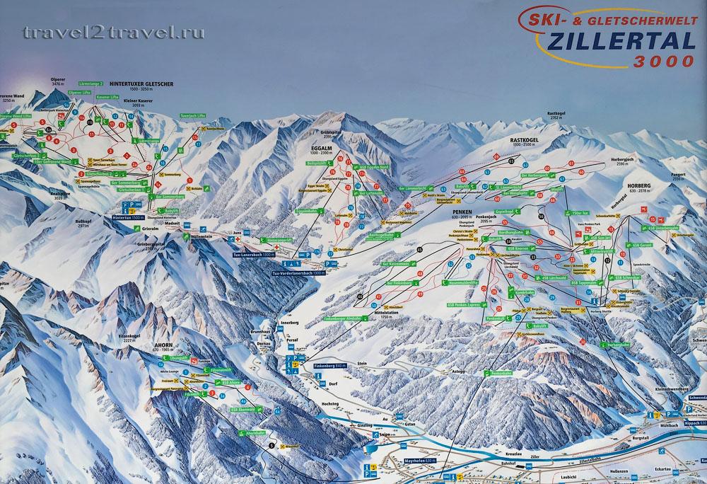 Карта трасс горнолыжных зон Циллерталь и горнолыжного курорта Хинтертукс