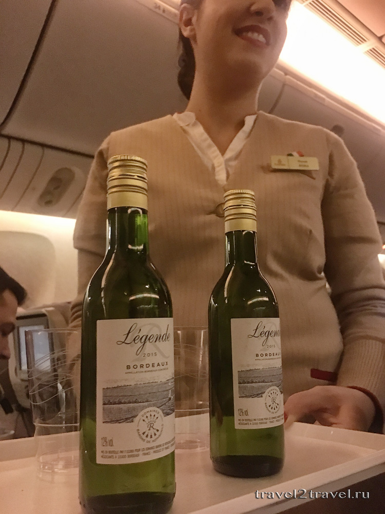 Спиртное на рейсе Москва-Дубай EK-134 авиакомпании Эмирейтс