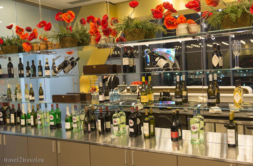 алкоголь бизнес-зала Космос (Space Lounge) терминала E Шереметьево