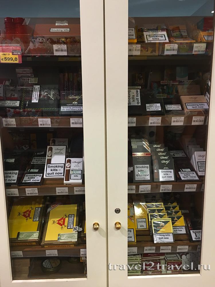 сигары в дьюти фри Тивата, duty free Tivat