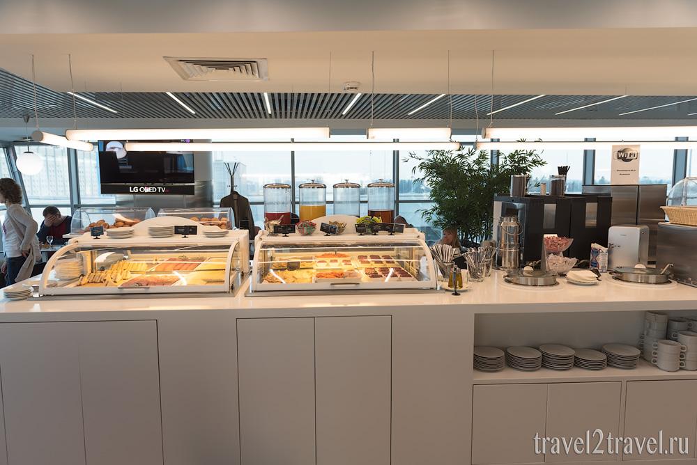 напитки и питание в бизнес-зале Галерея (Gallery Lounge) Шереметьево Терминал D