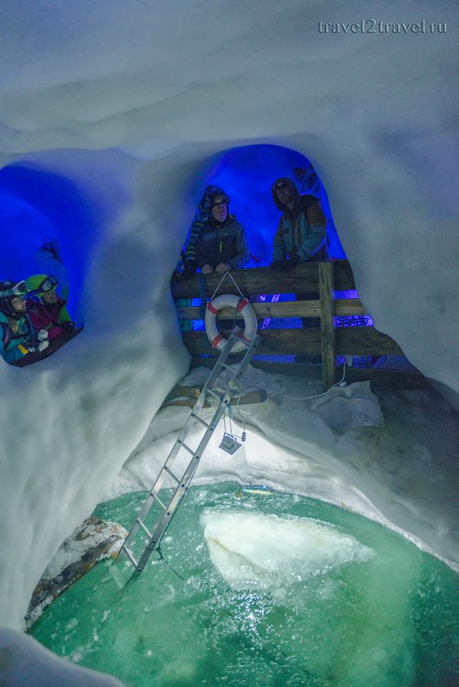 Подземный водоем в Ледяном дворце ледника Хинтертукс. Natural Ice Palace.