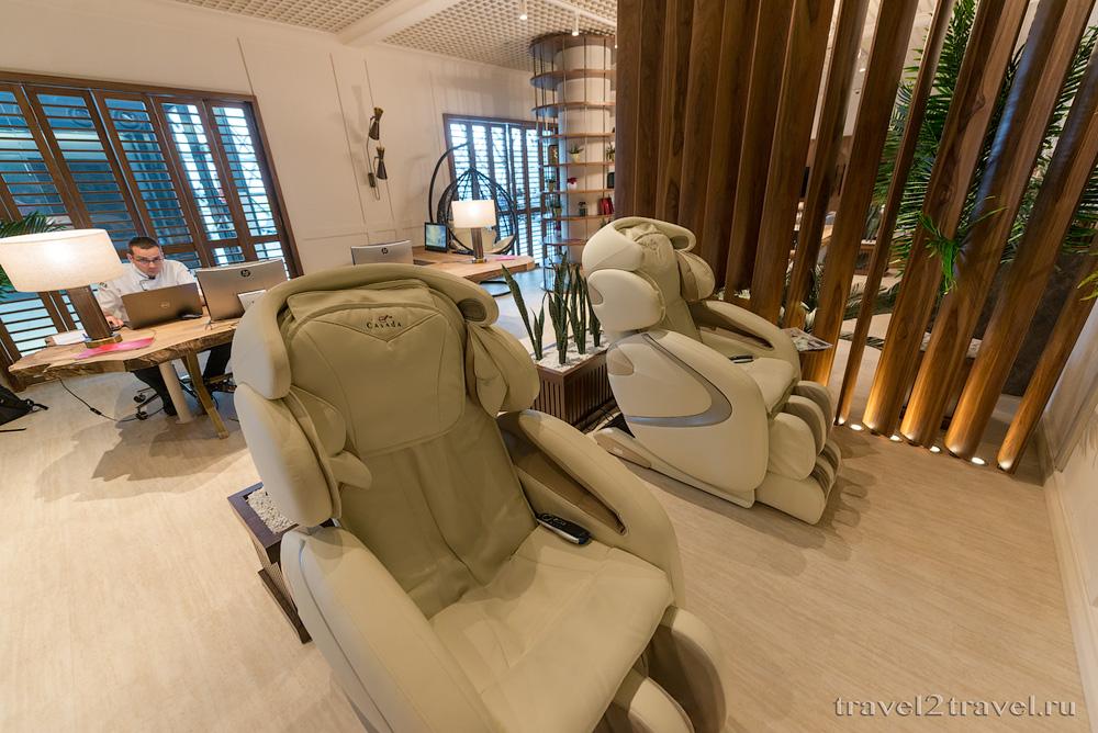 Бизнес-зал Primeclass Lounge в аэропорту Загреба, массажные кресла