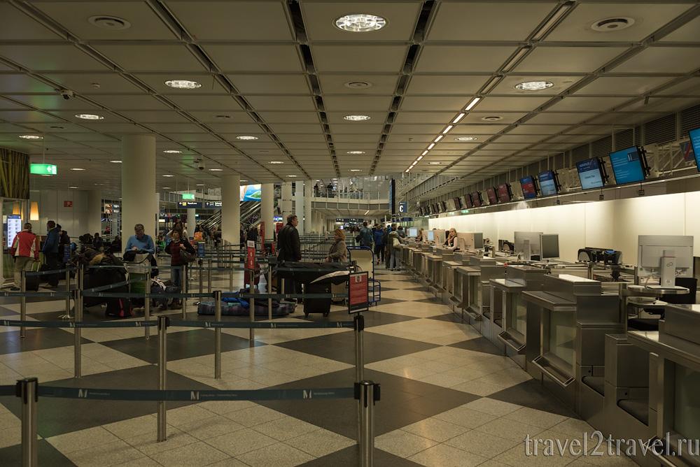 стойки регистрации на рейсы Аэрофлот в аэропорту Мюнхена
